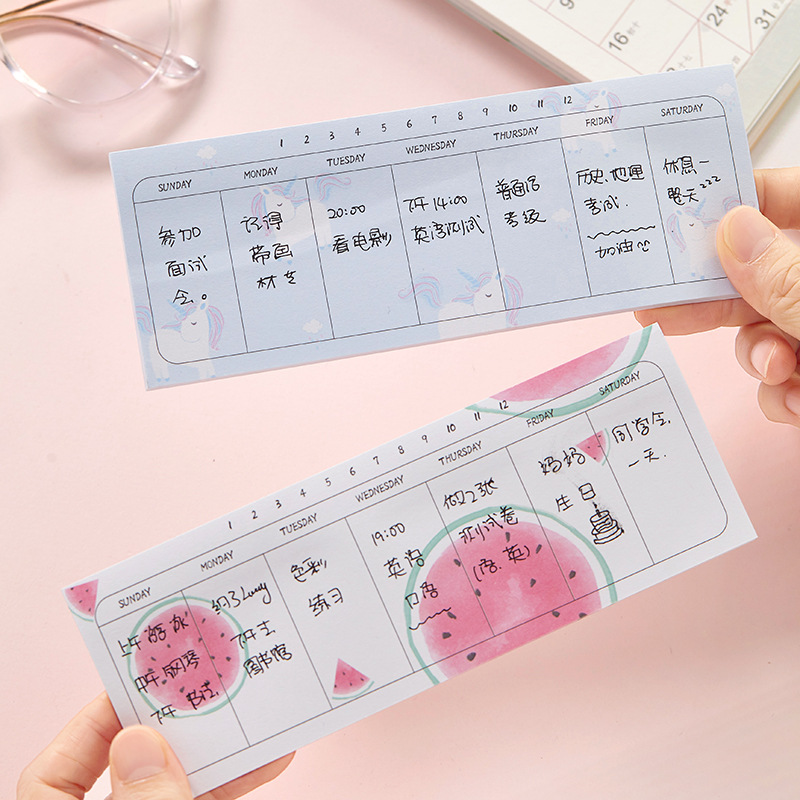 1 Sätze Memo Pads Sticky Notes Kawaii Obst Woche Plan Papier Notizblock Daliy Scrapbooking Aufkleber Büro Schule Schreibwaren Lesezeichen Harmonische Farben