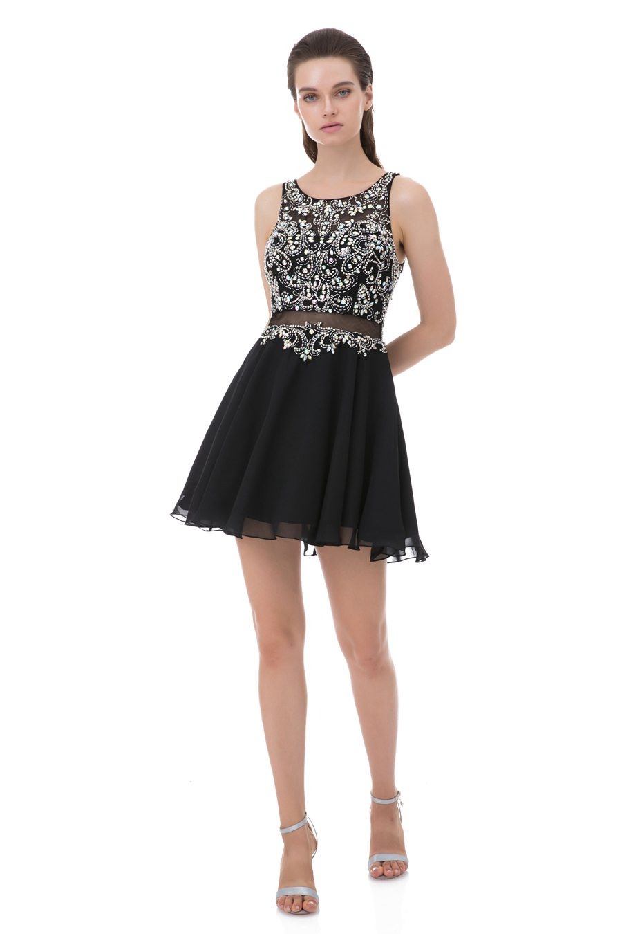 Short Scoop Beaded A line Homecoming Dress mini Illusion Party Outfits Sleeveless Ball Gown Rhinestone Chiffon Cocktail Dresses in Homecoming Dresses from Weddings Events