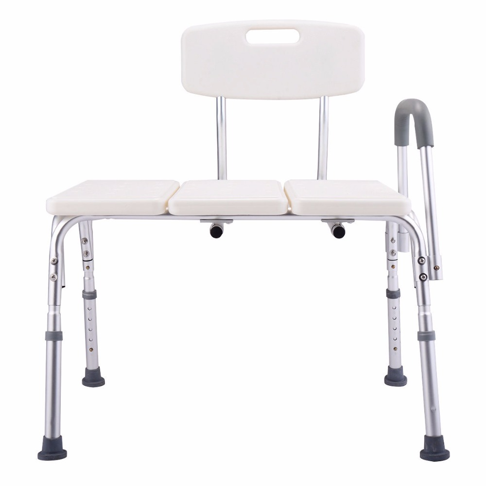Goplus 10 Height Adjustable Medical Shower Chair Bath Tub Bench Stool Seat with Back and Arm Non-slip Bathroom Chairs BA7153 premintehdw abs wall mount bathroom folding seat fold up seats shower rv seat