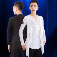 Ballroom Latin Dance Top Men Long Sleeves Competition Cha Cha Rumba Samba Tango Dancing Shirts Male Performance Wear DNV11726