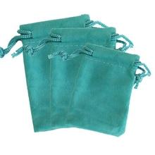 50 шт./лот озеро синий бархатный мешок 5x7 см мини-ювелирные украшения упаковки сумки Свадебные украшения бархатный шнурок Чехол подарочные сумка