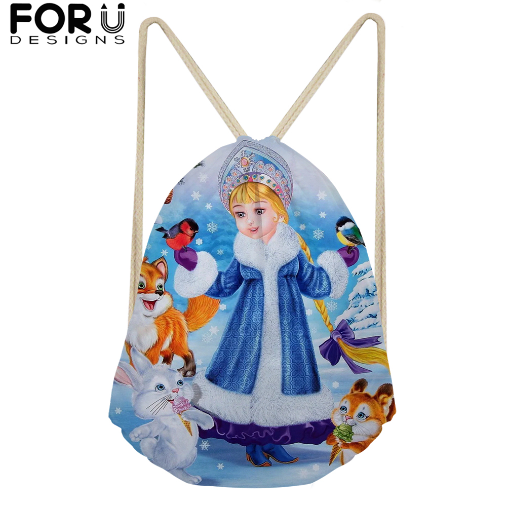 Blue Drawstring Bag for Teenagers Woman Girl Russia Snow Maiden Drawstring Backpack Package Travel Storage Package 2019 in Drawstring Bags from Luggage Bags