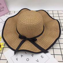 Moda Vintage elegante sólido paja sombreros de Sun para las mujeres chica  verano sombrero Venta al aire libre playa 2018 nuevo e. 4a3017b67b8