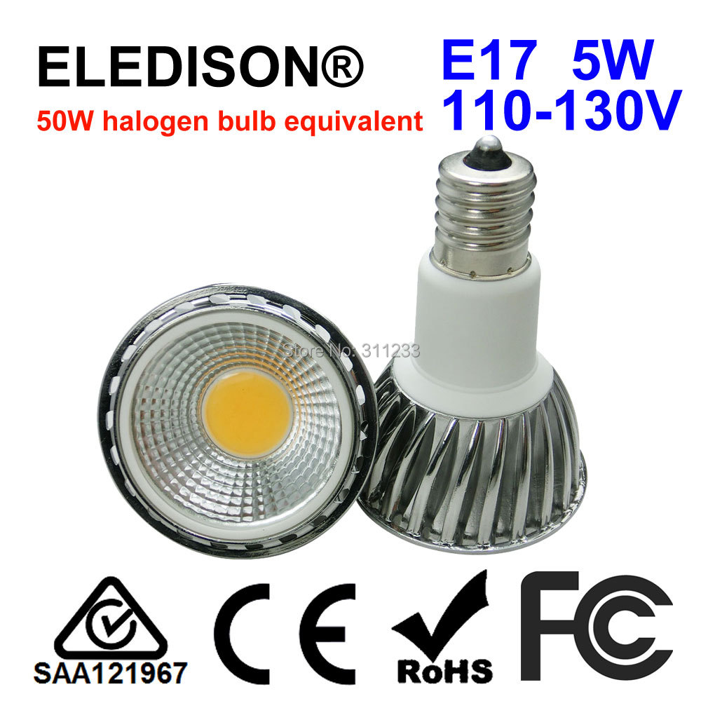 <font><b>E17</b></font> <font><b>LED</b></font> <font><b>Bulb</b></font> Light Spot 5W 90 Degrees Desk Table Reading Working <font><b>Bulb</b></font> Chrome Aluminum 50W Halogen Equivalent image