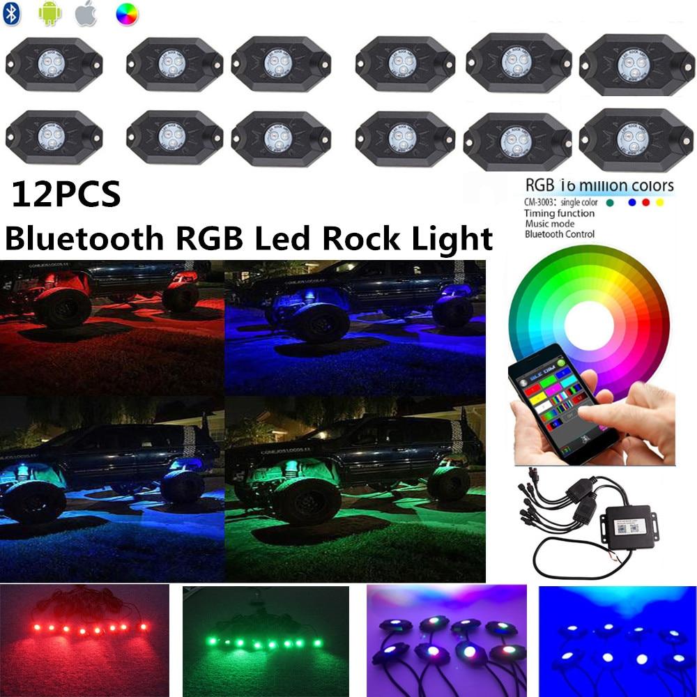 Honzdaa 12pcs Rgb Led Rock Light Bluetooth App Control