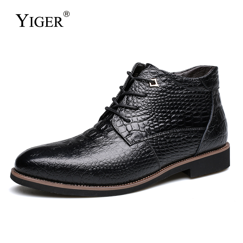 YIGER New Men Boots Winter Ankle boots warm with fur Lace up Cotton boots Male snow