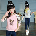 Girls T-Shirts Long Sleeve Cartoon Owl Hoodies For Girls Tees Polka Dot Bottoming Shirts Spring Autumn Tops 4 5 7 9 11 12 Years