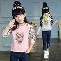 Meninas Camisetas de Manga Longa Hoodies Coruja Dos Desenhos Animados Para Meninas Tees Polka Dot assentamento camisas primavera outono encabeça 4 5 7 9 11 12 anos
