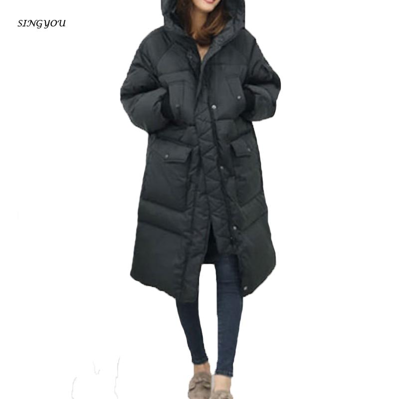 SINGYOU Women Winter Parkas Warm Thicken Ladies Long Hooded Coat Korean Style Jacket Coat Casual Loose Women Winter Outerwears casual style head portrait pattern loose hooded fleeces