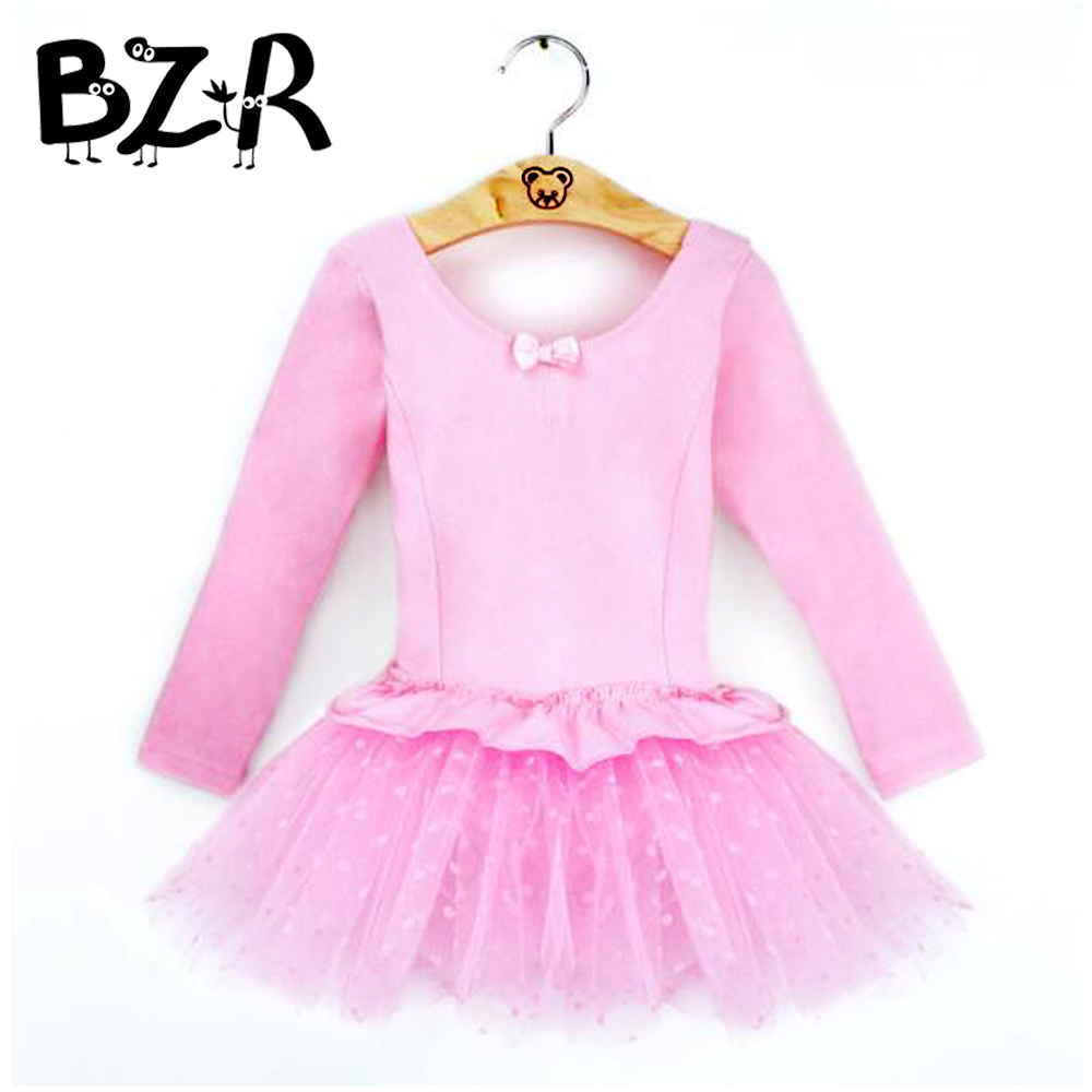 New Bow Decorate Cotton Veil Princess Dress for Kids Child Stage Performance Modern Dance Wear Costume Long / Short Sleeve Tutus