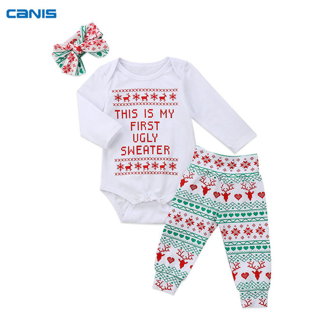 99be18fed CANIS Christmas Newborn Baby Set Kids Girls Rompers+Pants+Headband 3pcs  XMAS Outfits Children Clothes Costume