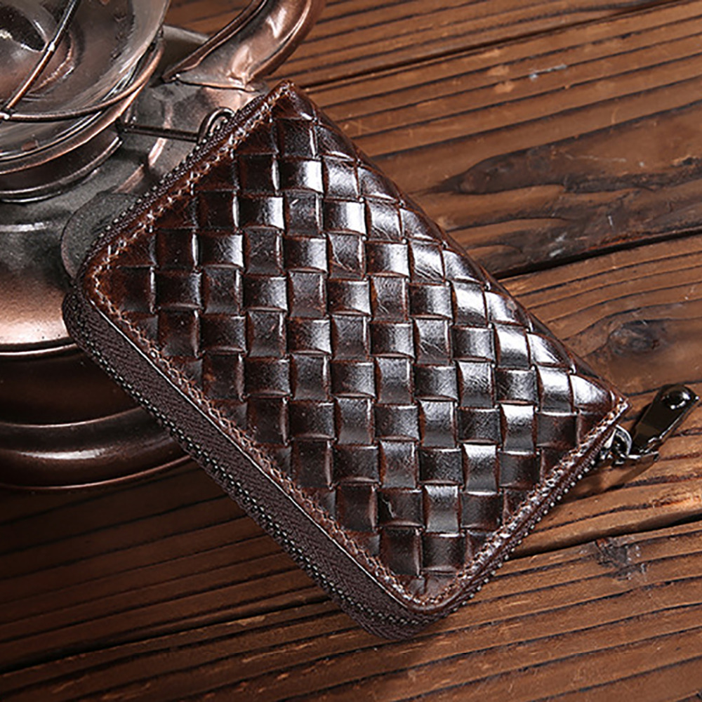 Oil Wax Genuine Leather Men MIni Clutch Bag Vintage Deisgner ID/Credit Card Holder Zipper Coin Purse Male Cowhide Bifold Wallet