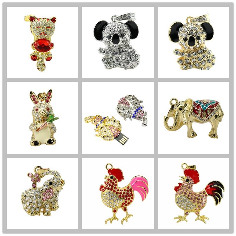 11 Style Animal Koala USB Flash Drive 8G 16G 32G 64GB USB 2.0 Pen Drive Ladybug Shape Crystal Elephant Cat Pendrive Memory Stick