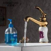 Hot And Elegant Bathroom Basin Faucet Bronze Rose Ceramic Mixer Faucet Ceramic Faucet Bathtub Mixer