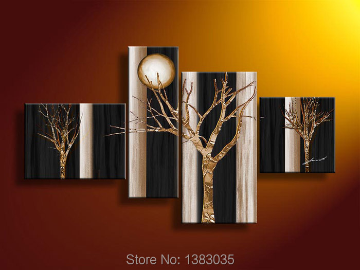 4 piece canvas wall art canvas artwork hand painted abstract trees art oil paintings piece canvas wall picture set modern home decorationin painting calligraphy from garden on