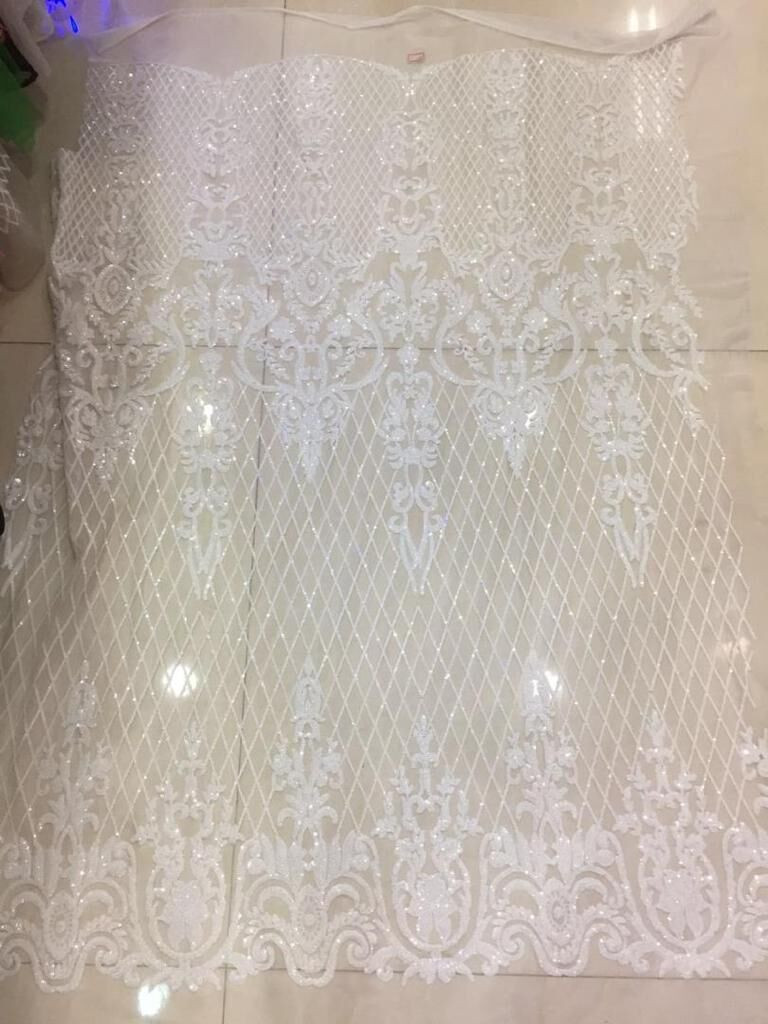 French Net Lace Fabric Embroidered SYJ 2212 Mesh Lace Fabric nigerian Tulle Lace Fabrics with sequins