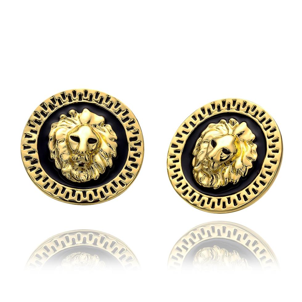 lion head punk rock gothic portrait circle baking finish men and women rose gothic hip hop E1074# stud earrings