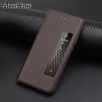 Genuine Leather Phone Case For Huawei P10 P10 Plus Luxury Magnetic Cover Window View Coque For