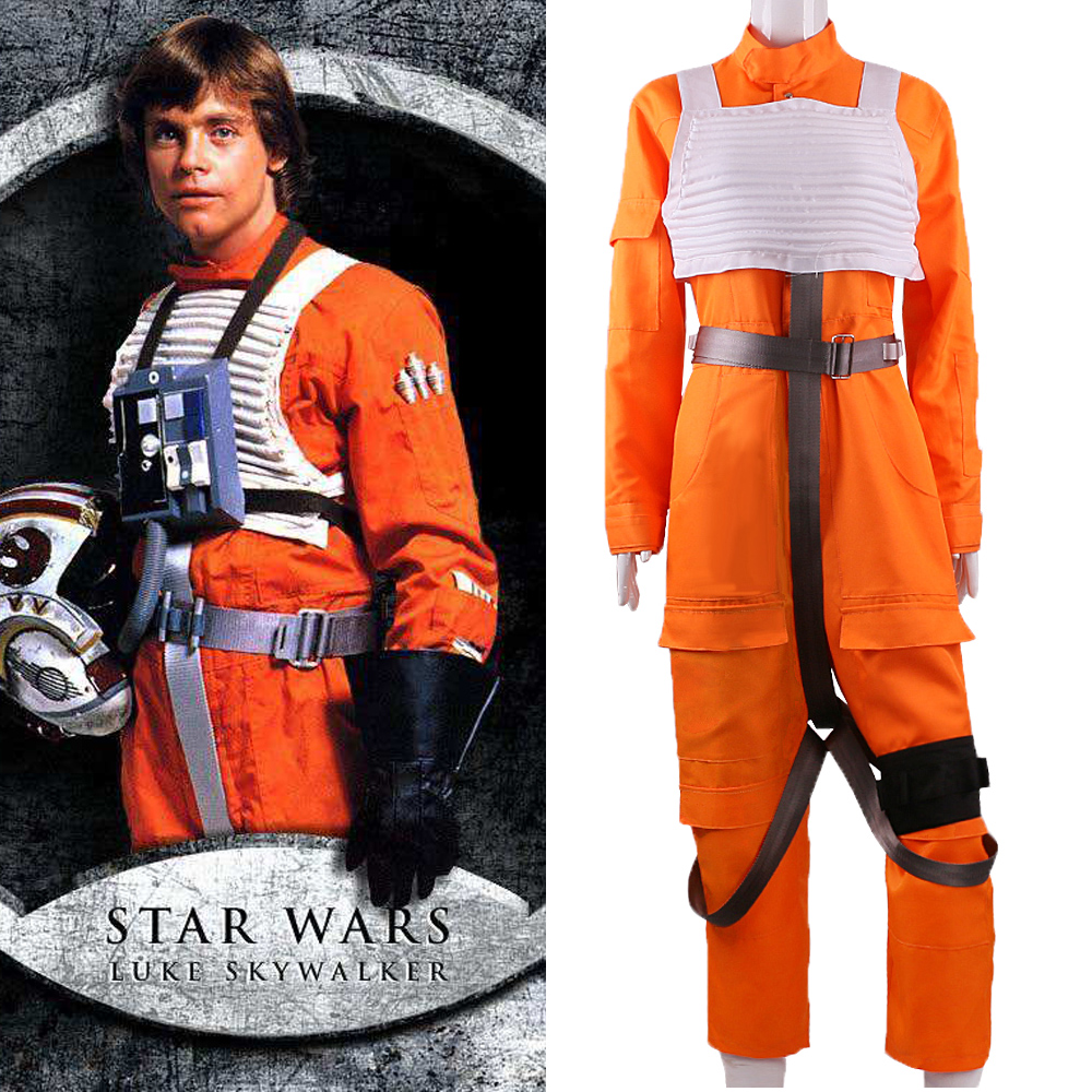 2017 Movie Star Wars The Force Awakens Luke Skywalker Jumpsuit Cosplay Costume Suits Orange Man Adult Halloween Party Prop