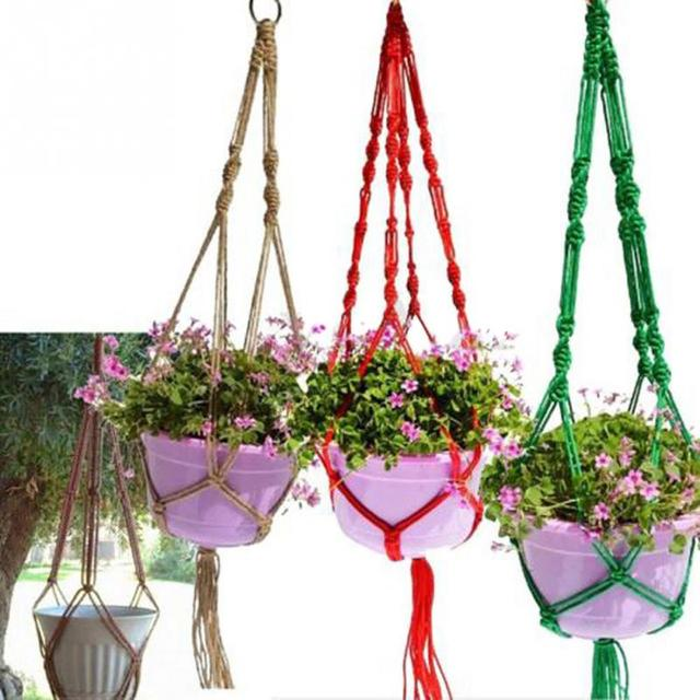 Nylon Woven Macrame Plant Potting Hanger Flowerpot Holder Garden pot Lifting Rope String Garden Balcony Plant Product