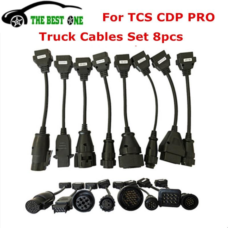 Prix pour Top Qualité Pleine 8 Camion Câbles Ensemble OBD2 Connecteur De Diagnostic OBD OBDII Convertisseur Câble Travail Pour TCS CDP Pro De Diagnostic outil
