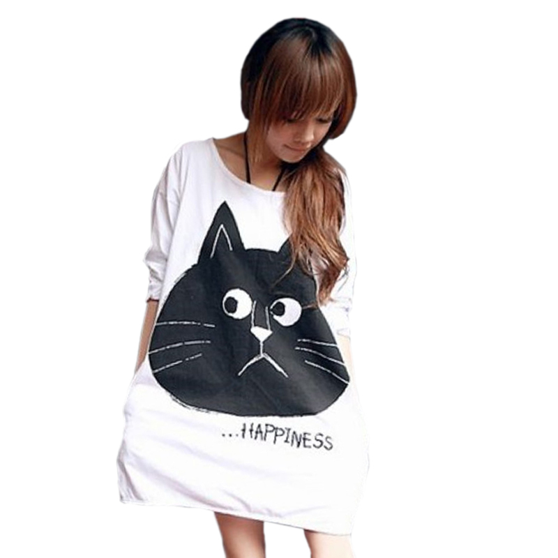Cat Print Loose White T Shirt