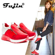 Fujin Autumn Casual Shoes Womens Wedge Sneakers on the Flat Platform Breathable  zapatos mujer Large Size