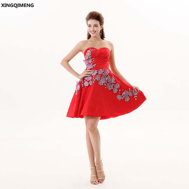 d0a87bc9a1a4 Online Shop Red Sexy Cocktail Dress Short Elegant Cocktail Dresses Sequined  Crystal Beaded Flowers Formal Dresses Above Knee Prom Gowns | Aliexpress  Mobile