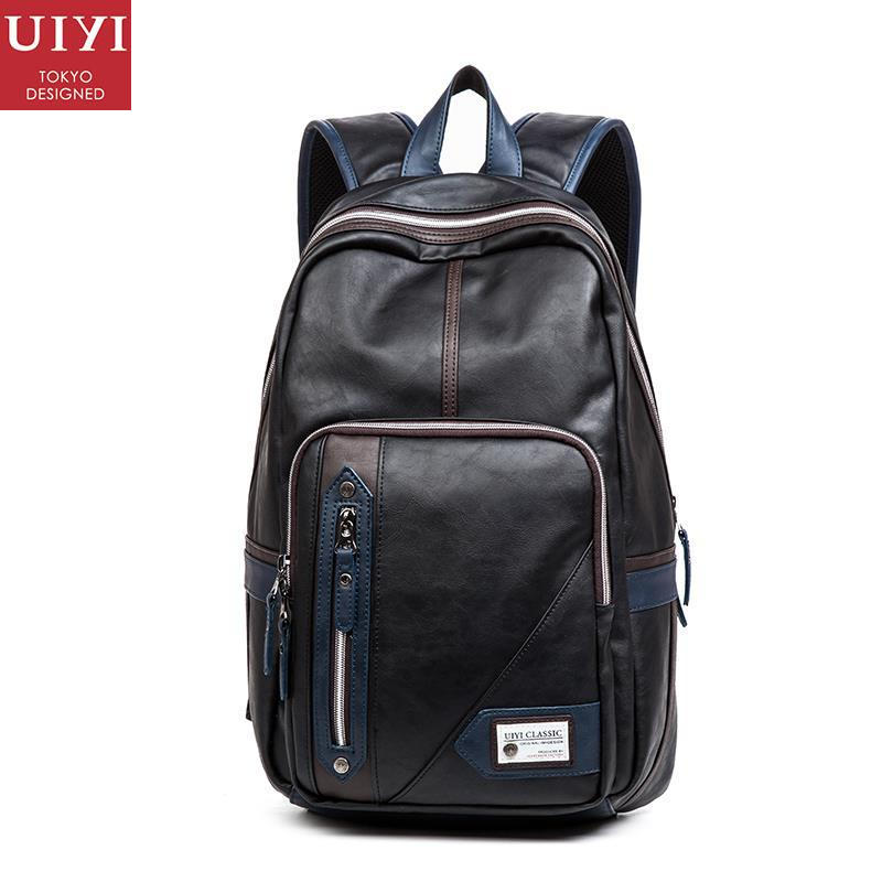 uiyi backpack men polyester microfiber pu leather patchwork backpacks for teenagers school rucksack school bags travel 160014 UIYI Fashion PU Leather Men Quality Backpack Preppy Style Man Women Bolsas Mochila School Travel Bag Rucksack Laptop Bags 150086