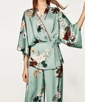 2017 Woman Fashion Short kimono floral print Wrap design with a v neck 3/4 sleeves contrast piping Ties front with a bow