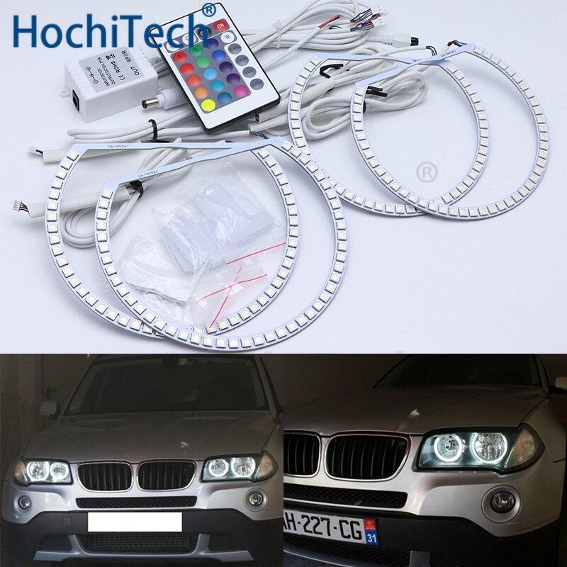 Pour BMW E83 X3 2003 2004 2005-2010 phare halogène multicolore Led Angel Eyes Kit RGB Halo anneaux feux de jour DRL
