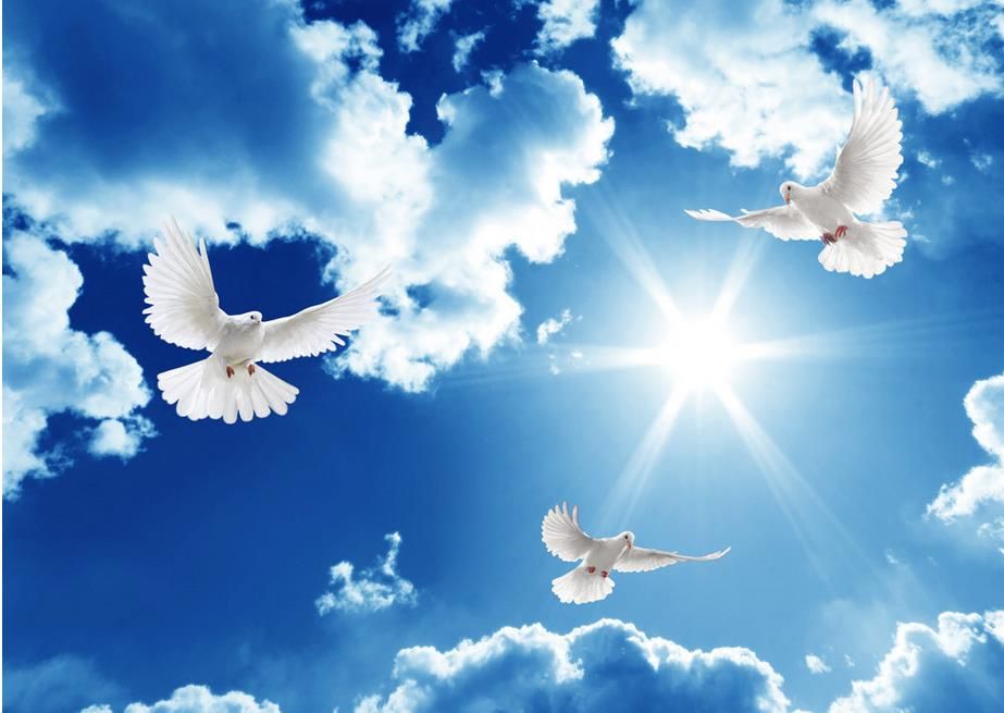 Blue Sky And White Clouds Sunny Sky Ceiling 3d Wallpaper