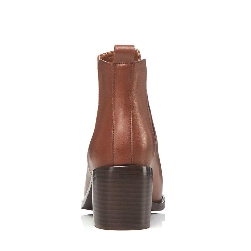Deslizamiento 2019 Tobillo Botas jiao Tang Cuero En Genuino Damas Zapatos Tacón Tamaño Negro Se Nesimoo 42 Toe Mujer Alto Moto Negro De 34 dzRtIqn