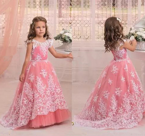 New Custom Color Ball Gown Flower Girl Dresses A Line Lace Up Back Applique with Sash Child Pageant Dresses 4pcs new for ball uff bes m18mg noc80b s04g