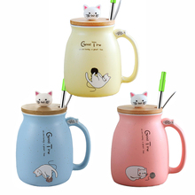 Creative color cat heat-resistant Mug cartoon Coffee with Lid and Spoon Straws Milk Tea Water Cups Gifts