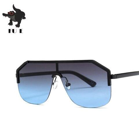 FU E New Gradient Retro Siamese Lens Square Sunglasses Women Brand Designer Half Frame Shield shape Mens Sunglasses UV400  22071 Islamabad