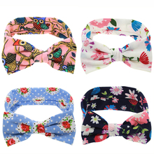 Bezel Big Elastic Bow Knot Flower Headband Kids Cotton Wrap Elastic Hair Band scrunchy Headwear Hair Accessories EASOV W246