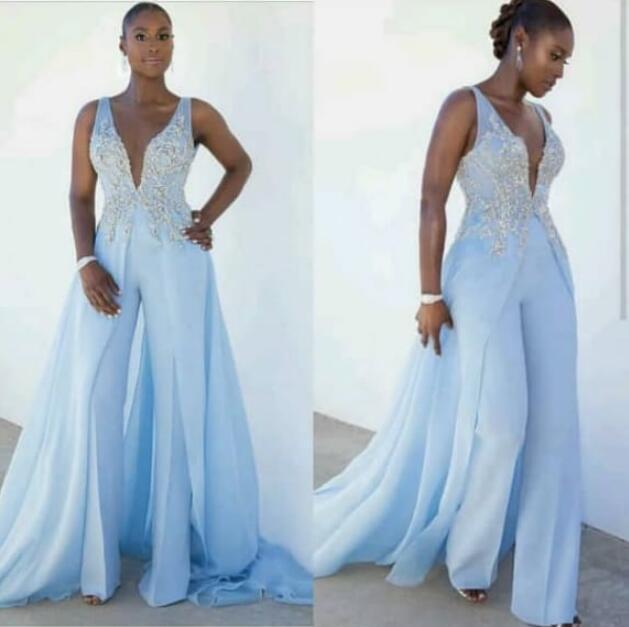 Blue Pants For Weddings 2019 Deep V Neck Lace Applique Jumpsuits For Women Evening Party Dress