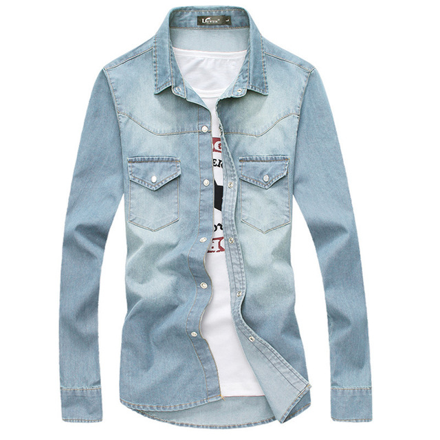 71a3ce3b045 Brand Denim Shirts 2016 Fashion Mens Slim Fit Long Sleeve Jean Shirts  Autumn Casual Blue Men Shirt Chemise Homme Camisa Social