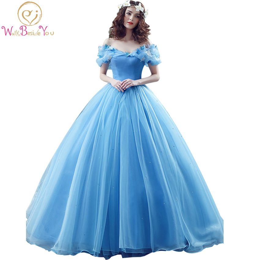 100% Images réelles en Stock bleu papillon Cospaly cendrillon robe robes de bal Tulle Quinceanera robes ébouriffées Dress15 ans