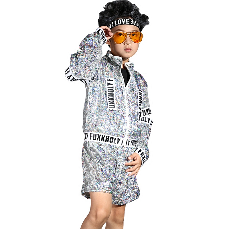 Children's sequined costume boys autumn and winter jazz performance clothing sets children's hip-hop modern dance clothes