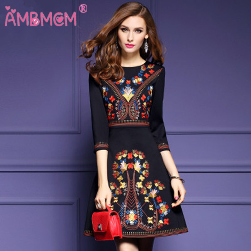 Womens Embroidery Dress Elegant Vintage Embroidered Evening Party
