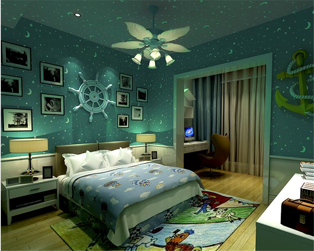 3D luminous children room ceiling wallpaper blue pink yellow white moon stars glow wall paper wall sticker behang Beibehang fluorescence creative fairy stars luminous switch wall sticker