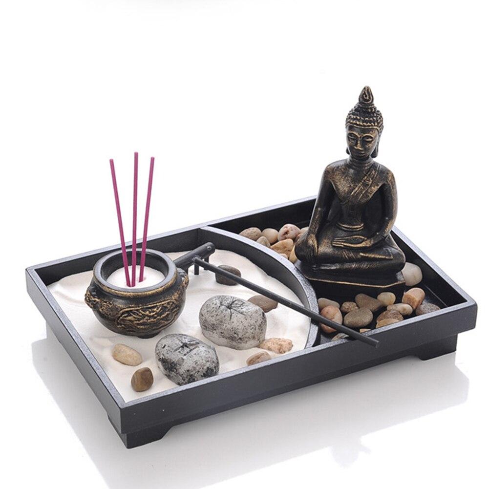 Statua di Buddha Zen Garden Sabbia Meditazione Pacifica Relax Decor Set Spirituale Zen Garden Kit Del Vassoio di Sabbia Buddha Bruciatore di Incenso