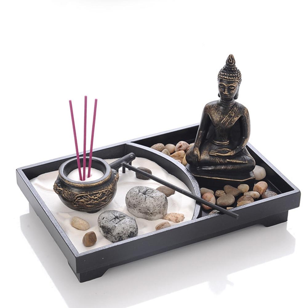 Statue de bouddha Zen Jardin Sable Méditation Paisible Relax Décor Spirituel Jardin Zen Sable Kit de Plateau Bouddha Brûleur D'encens