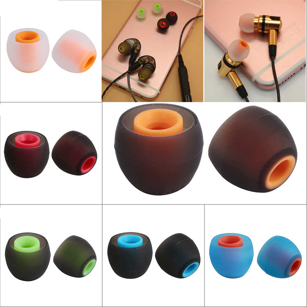 2PC/1 Pair Colorful Rubber 3.8mm In-ear Earphone  Earbuds Replacement Silicone Rubber Ear Tips Universal Replacement Earbuds