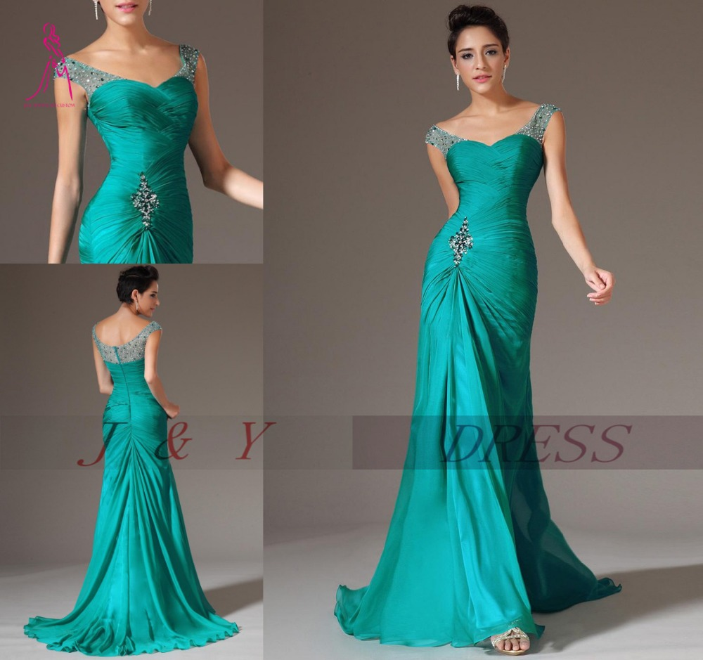 Hot Sale 2016 Mermaid V neck Cap Sleeves Green Chiffon Beaded Party ...