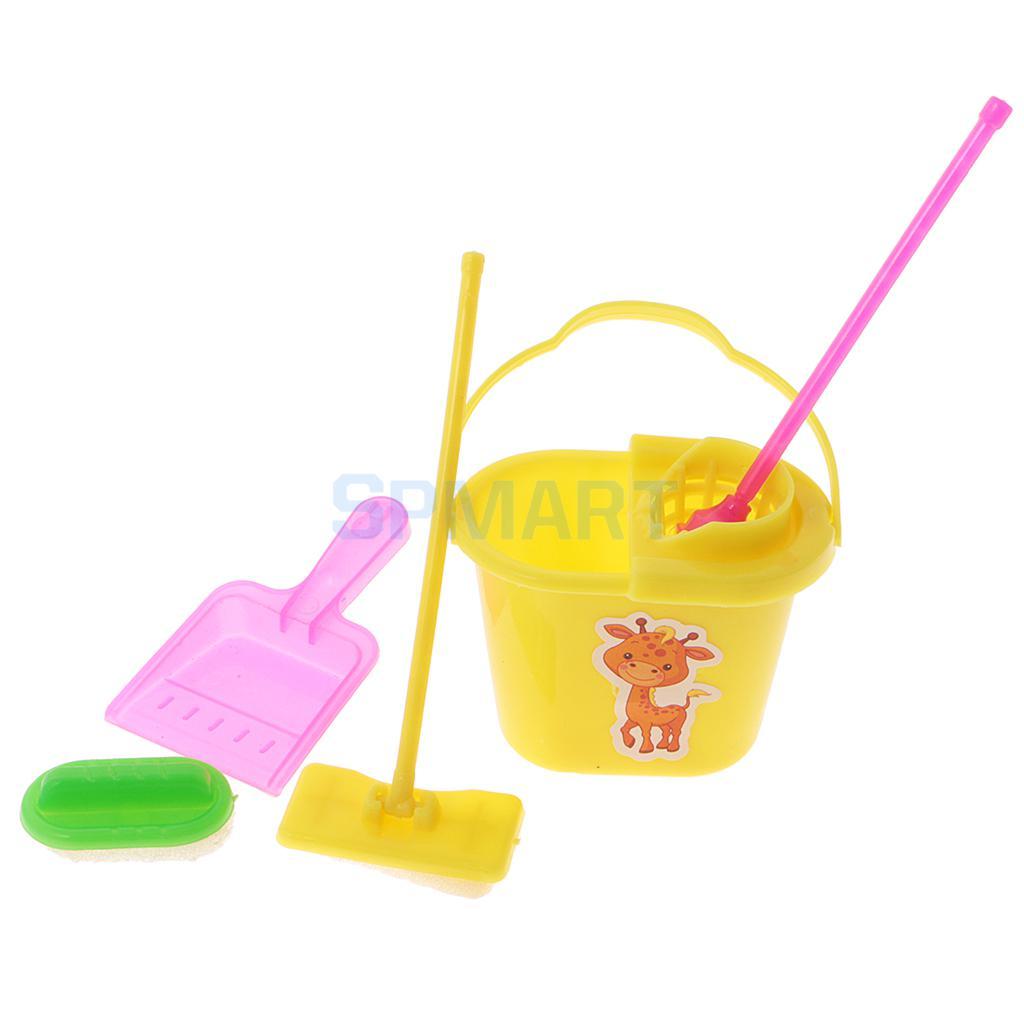 5 шт. 1:12 миниатюрный mop совок, ведро Кисточки дому Уборочные Инструменты Набор кукольная садовая Интимные аксессуары для Барби Кен Куклы
