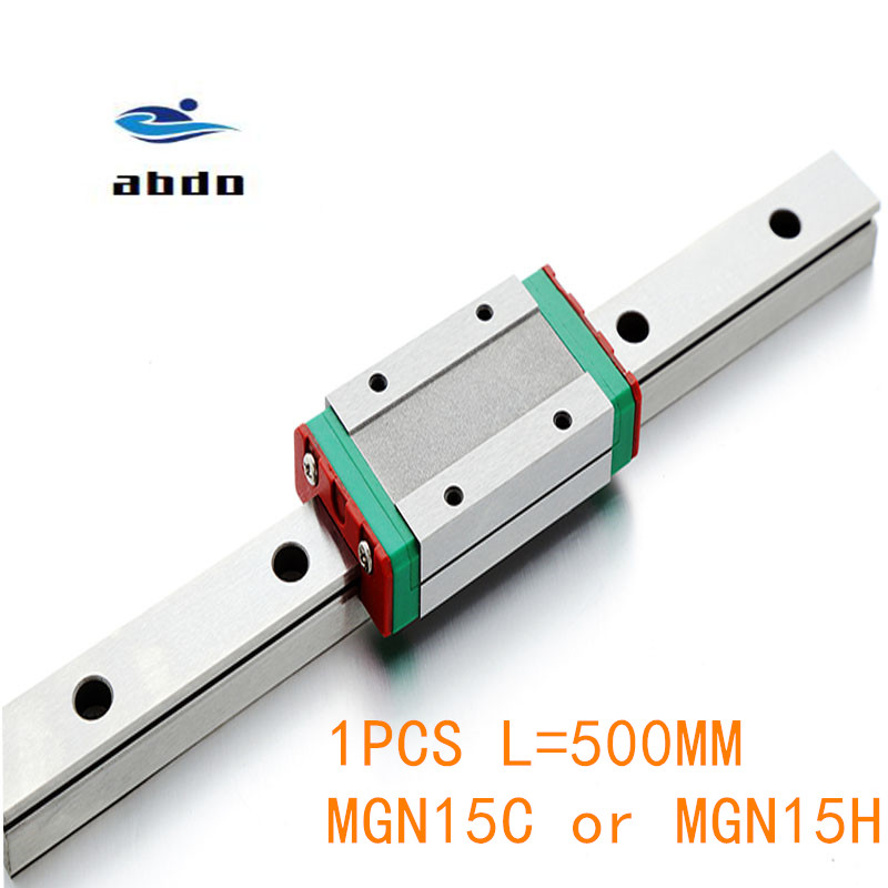 NEW 15mm miniature linear guide MGN15 L= 500mm rail + 1pcs MGN15H or MGN15C CNC block for 3D printer parts XYZ cnc partsNEW 15mm miniature linear guide MGN15 L= 500mm rail + 1pcs MGN15H or MGN15C CNC block for 3D printer parts XYZ cnc parts