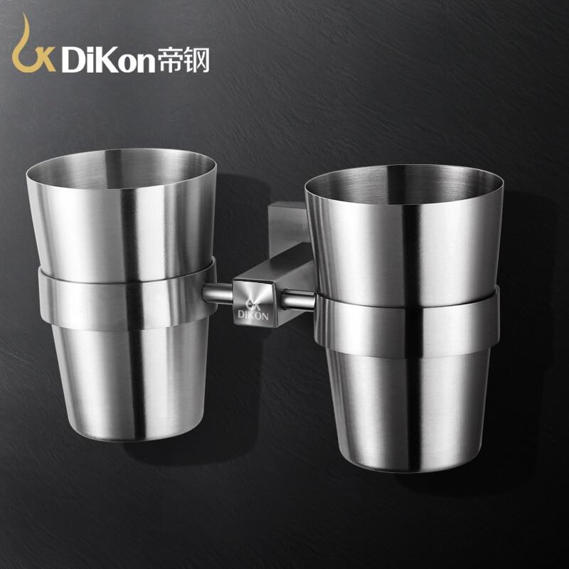 все цены на DiKon GB09 Bathroom Toothbrush Cup Holder Rack 304 Stainless Steel Simple Style Bathroom Accessories Double Tumbler Cups holders онлайн